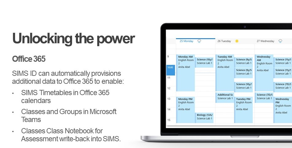 Display SIMS Timetables in Office 365 Calendars